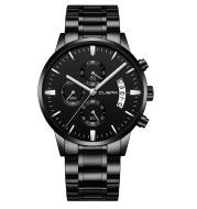 Business style all-match fake three-eye with calendar steel band quartz watch