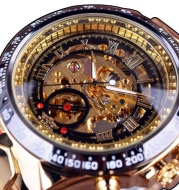 men's personality fashion gold watch all steel hollow automatic mechanical watch